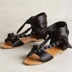Billy Ella/Anthropologie Satin Beaded Gladiator